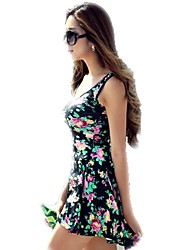 Women Floral Sleeveless Round Neck Stretch Summer Sundress Dress