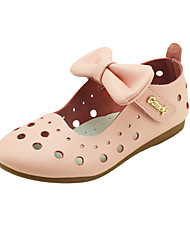 Girls' Shoes Outdoor / Casual Leather Flats Summer Mary Jane / Round Toe Flat Heel Bowknot / Magic Tape Blue / Pink / White