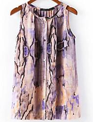 snake print floral sem mangas blusa de sexta-feira as mulheres em torno do pescoço