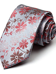 Gray&Red Silk Tie
