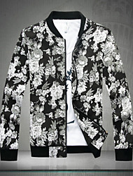 SMR Men's Fashion Floral Print Stand Collar Jacket_1626