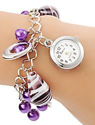 Damen Armband-Uhr Quartz Legierung Band Perlen Lila Marke