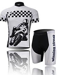 XINTOWN Men's Car Logo Quick Dry Moisture Absorption Short Sleeve Cycling Suit—Black+White