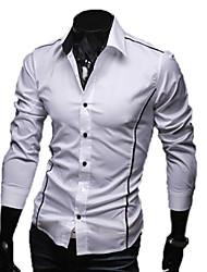 Shirt LangTuo Slim bord Tuyauterie causal manches longues (Blanc)