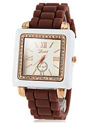 diamante de silicona de línea cuadrada cuarzo de la venda reloj análogo informal de las mujeres (colores surtidos)