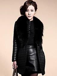 Women's Fashion  Imitation Raccoon Fur Collar PU Leather Cotton Coat