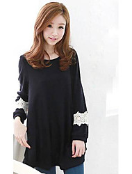 Women's Korean Lace Round Neck Shirt Dress