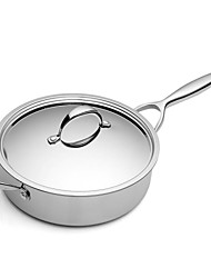 BODEUX® Series Light Texture No Coating Sauté Pans 24cm 304 Stainless Steel 44.7cm*24cm*7.5cm