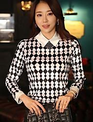 Women's Geometric White Blouse/Shirt , Shirt Collar Long Sleeve