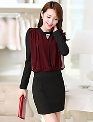 Women's Work Bodycon Dress,Color Block Crew Neck Mini Long Sleeve Red / Black Spring / Summer / Fall / Winter