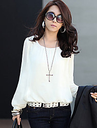 City Style Women'S Chiffon Long Sleeve Shirt