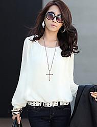 chiffon camisa de manga longa das mulheres de estilo cidade