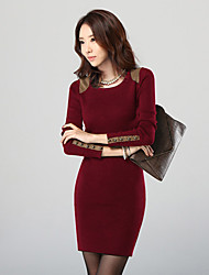 KAXI Korean Style Body Con Fitted Long Sleeve Knitwear Dress (Wine)