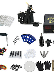 1 Gun Complete No Ink Tattoo Kit with K-Shaped Black Tatoo Machine and Lcd Screen Blue Power Supply