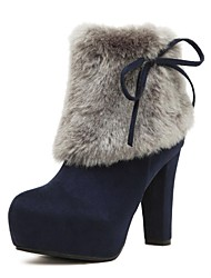 Women's Shoes Round Toe Platform Chunky Heel Flocking Ankle Boots with Zipper More Colors available