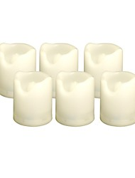 Set of 6 Ivory Color Plastic LED Votive Candles (Flameless Candles) with Dual-Timer