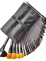 34PCS Goat Hair Black Handle Makeup Brush Set with Black Pouch