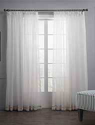 (Dois painéis) cortina sólido branco minimalista sheer com pingentes