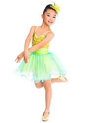 MiDee Kids' Dancewear Dresses Children's Training Spandex Tulle Sequins