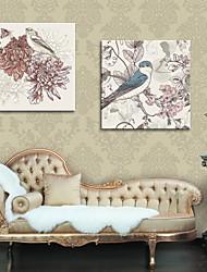 arte lona esticada flores e pássaros pintura decorativa conjunto de 2