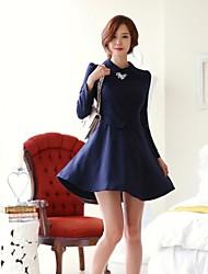 Women's Autumn Doll Collar Dot Print Long Sleeve Dress
