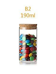 Calor 190ml de vidro transparente de grande calibre resistente vasilha de armazenamento, 10x5.5x10cm
