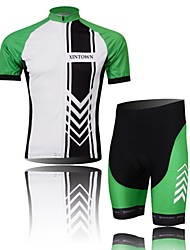 XINTOWN Men's Arrow Quick Dry Moisture Absorption Short Sleeve Cycling Suit—Green+White
