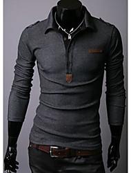 Fedes Men's Lapel Neck Solid Color Long Sleeve T-Shirt