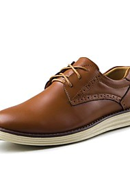 Men's Spring Summer Fall Leather Office & Career Casual Flat Heel Lace-up Tan Black Brown