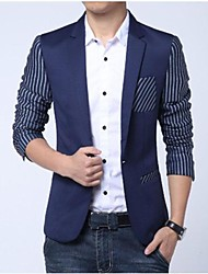 Men's Long Sleeve Blazer , Cotton Striped