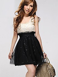 Women's Scoop Neck Elastic Waist Sequin Stitching Dress