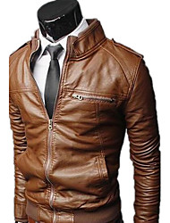 REVERIE UOMO Man's PU Leather Solid Color Stand Tops
