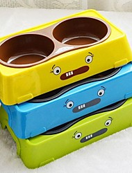 Cute Double Diner Water Food Bowl for Dogs Cats Pets No-Skid Rubber Base Multicolor Dish #L(28 x 16 x 5.5cm)