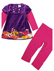 Girl's Print Clothing Set,Cotton / Spandex Winter / Fall / Spring Purple