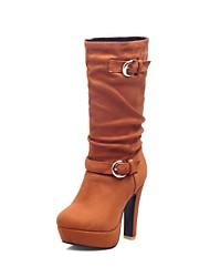 damesschoenen mode hoge hak van suède halverwege de kuit laarzen meer kleuren beschikbaar