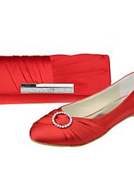 Damenschuhe Peep Toe Satin flachem Absatz Wohnungen Schuhe passenden Satin-Abendtasche