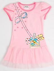 partido encantador caliente de manga corta de color rosa de los niños para los vestidos de impresión al azar