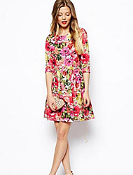 vestido de manga 3/4 de la impresión floral fresco viento