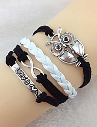 Vintage love 18cm Women's Black-White Alloy Wrap Bracelet(Black-White)(1 Pc)