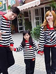 Family's Fashion Joker Leisure Cute Black And White Stripes Sport Parent Child Clothing Set