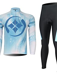 XINTOWN Men's Drops of Water Quick Dry Moisture Absorption Long Sleeve Cycling Suit—White+Blue