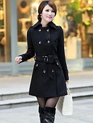 marrom preto casaco de trincheira das mulheres / lã, cinto incluído