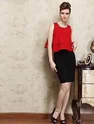 OBELL Women's OL Dot Looser Ruffle Hem Suit(Blouse&Skirt)