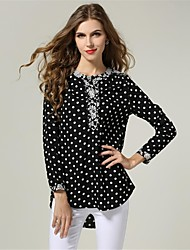 Women's Polka Dot Black Shirt , Crew Neck Long Sleeve
