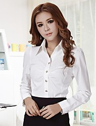 Women's Solid White Blouse , Shirt Collar Long Sleeve Ruched