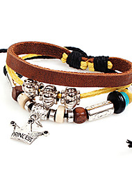 Men's Multilayer Crown Charm Brown Leather Wrap Bracelet