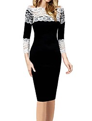 Women's Lace Black Dress , Lace/Work Bateau