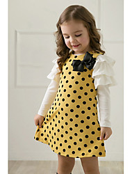 e wen bonito bolinhas vestido de manga longa (amarelo)
