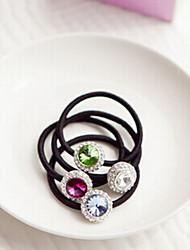 Vintage  Crystal With Diamond Circular Shape Hair Ties Random Color