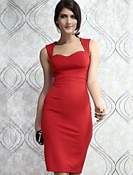 Women's Solid Red Dress , Work/Sexy Sweetheart Sleeveless Backless